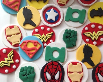 12 Fondant mixed super hero cup cake toppers.