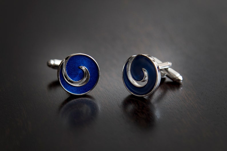 Blue Cyclone Cuff Links