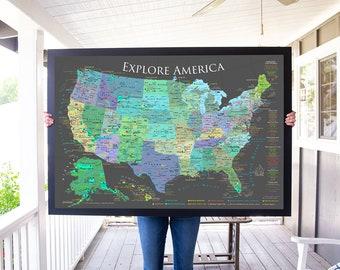 USA Push Pin Map National Parks Map Checklist Framed Pin | Etsy