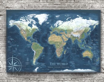 Framed scratch map etsy detailed world map framed or poster world map wall art push pin travel map reference world map gumiabroncs Images
