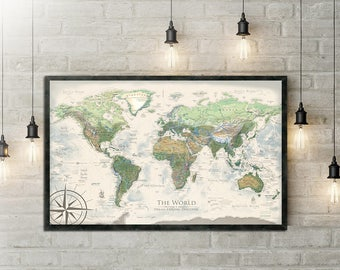 World map push pin world map wall art includes the usa etsy 1st anniversary gift world map push pin beautiful cartography also features the usa national parks gumiabroncs Choice Image