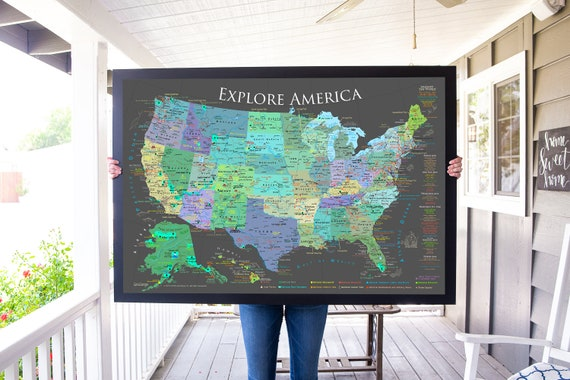 usa push pin map national parks map checklist framed pin etsy