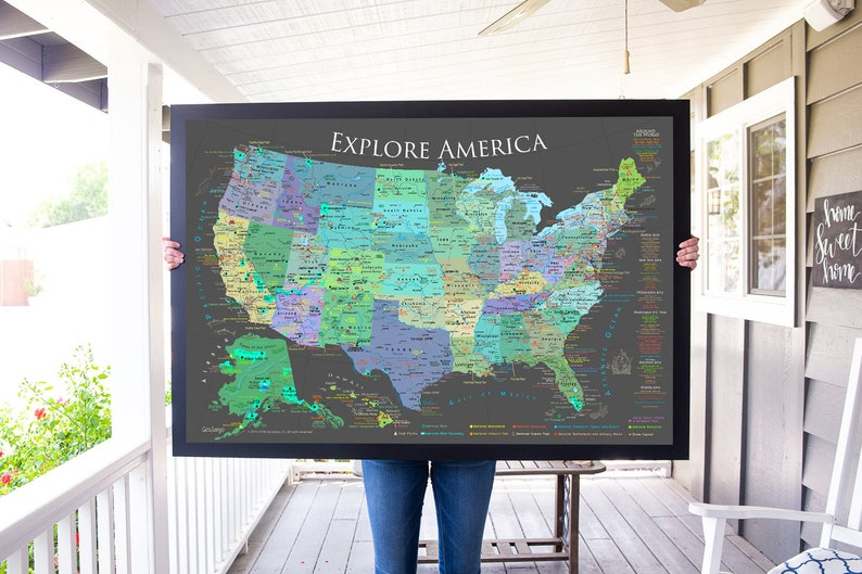 USA Push Pin Map, National Parks Map, Checklist, Framed Pin Map-Ready  Quot W World Map Laminated on