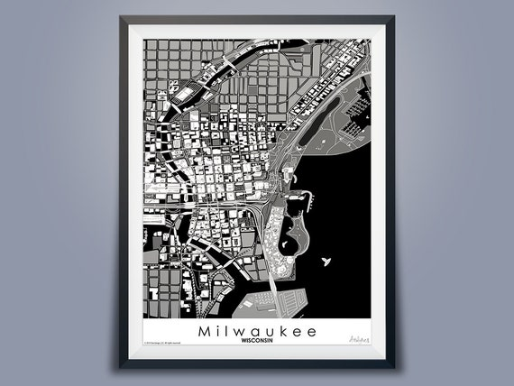 Milwaukee Map Black & White | Downtown USA Map Art | Wisconsin Map on