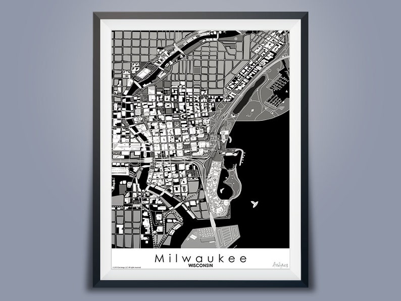 Milwaukee Map Black & White Downtown USA Map Art Wisconsin | Etsy on