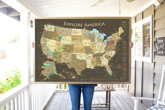 National Park Map | Explore America Map - Poster or Framed USA Map with map  pins ready to hang | Push Pin Travel Map