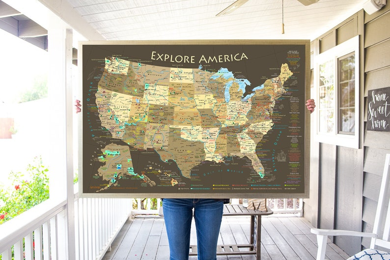 Map Of America National Parks.National Park Map Explore America Map Poster Or Framed Usa Map With Map Pins Ready To Hang Push Pin Travel Map