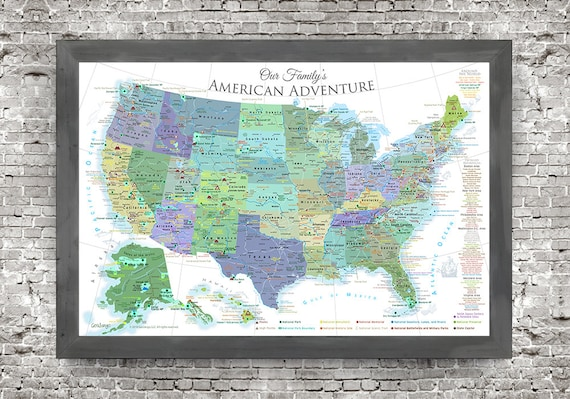 USA Map Wall Art - National Parks Map - White Edition - Created by a  Professional Geographer