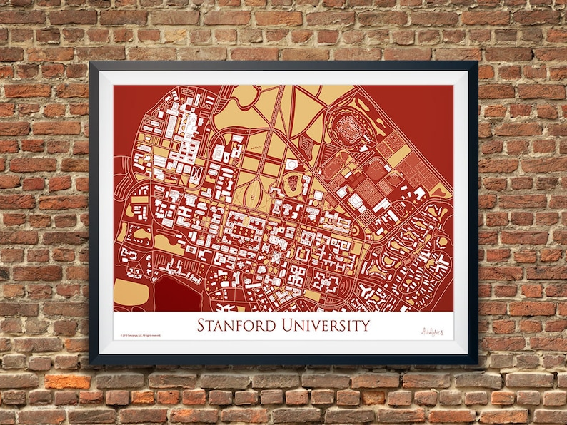Stanford University Graduation Gift Standford Campus Map   Etsy