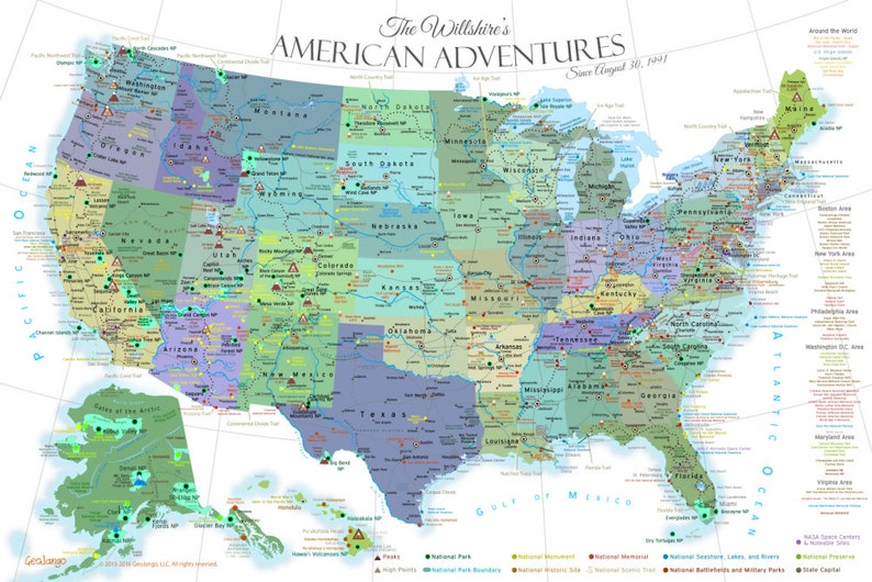 USA Travel Decor - National Park Map Poster, USA Travel Destinations, on venezuela's map, uk's map, www.usa map,