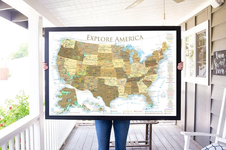 National Parks Map Checklist  Push Pin USA Travel Map  image 0