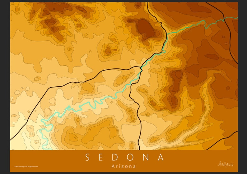 Map Of Arizona Including Sedona.Sedona Map Art Sedona Topo Map Arazona Map Topo Map Contour Map National Park Map Travel Map