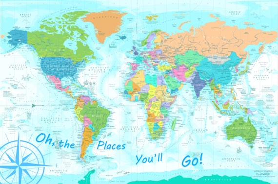 Kids World Map, Oh the Places You\'ll Go Map Poster, Map Poster