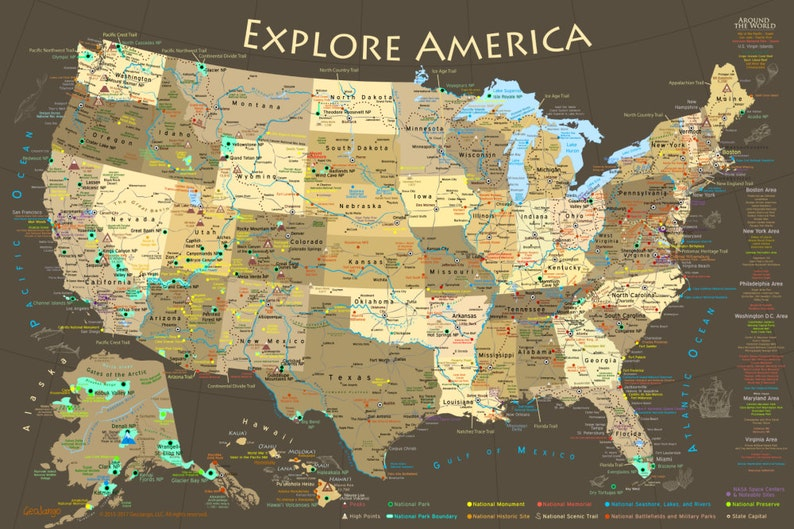 Us Map National Park Map Poster Illustrated Usa Map Etsy - Us-map-poster