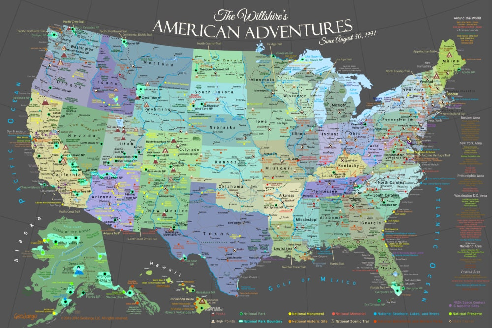 National Park Map Poster, USA Travel Map of the Best Destinations in  America, Unframed Poster, Designed by a Professional Geographer
