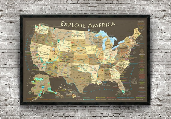 rv travel map rv travel decor explore america map usa etsy