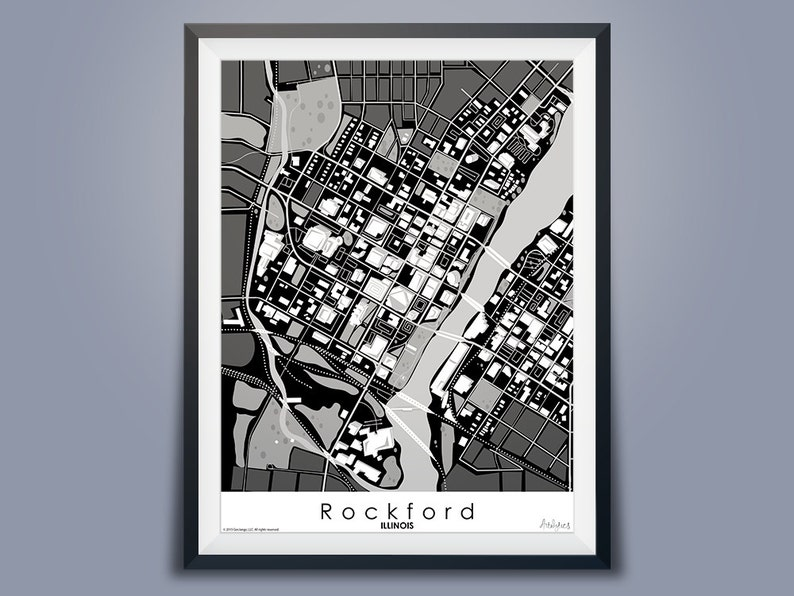 Map Of America Rockford.Rockford Illinois Map Art Black White Downtown Usa Map Art Illinois Map