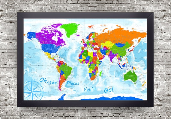 Oh the Places You'll Go World Map | Kids World Map | Use as a Wall Kids World Maps on world atlas, world history, world records, world wallpaper, world hunger, world war, world projection, world statistics, world glode, world military, world shipping lanes, world most beautiful nature, world travel, world of warships, world border, world earth, world culture, world flag, world wide web, world globe,