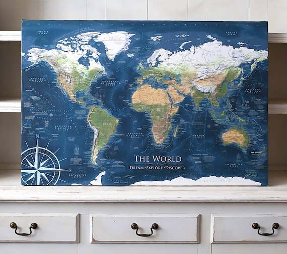 Large World Map Wall Art, Push Pin Travel Map, with World Wonders, USA  National Parks and more - Created by a Professional Geographer