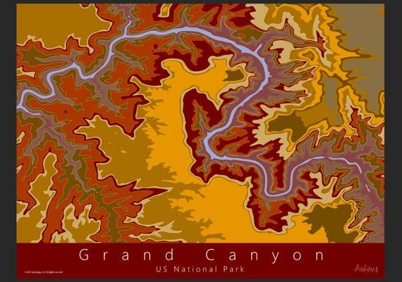 Grand Canyon Topo Map Art | US National Park Map | Grand Canyon Topo Map |  National Park Art | Contour Map Art | Arizona Topo Map