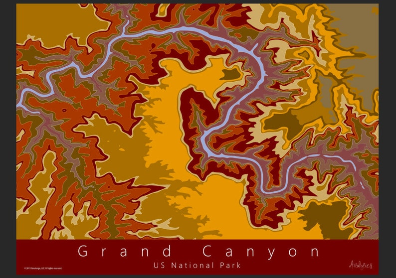Grand Canyon Topo Map Art US National Park Map Grand | Etsy