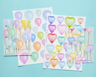 Polco and Journal/Bujo Deco, Balloons and Heart Balloons Sticker Sheets