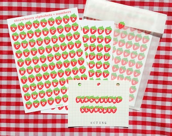 Polco and Journal/Bujo Deco, Strawberry Alphabets + Numbers Sticker Sheet