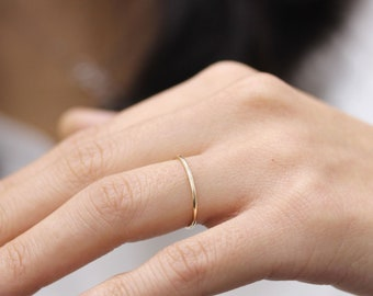 Simple Super Thin Stacking Gold Ring, Ultra Plain Band Ring 14k Solid Yellow Gold Ring Everyday Simple band