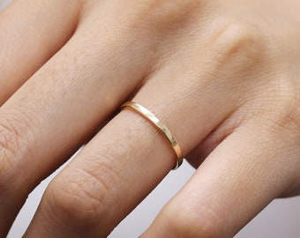 Plain Simple Thin Flat Wedding Band 14k Yellow Gold