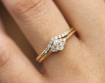 Oval Diamond wedding Ring Set, Curved Diamond Wedding Band, Round Brillant Diamond wedding set,Engagement Ring Set