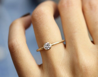 14k Gold 0.30 ct Round Diamond Engagement Ring In Bezel Setting, Simple Engagement Ring, Stacking Diamond Gold Ring