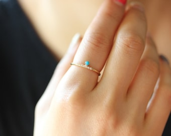 14k Solid  Gold Dainty Ring ,Natural Turquoise Stone, Diamonds in Micro Pave, Stacking Ring