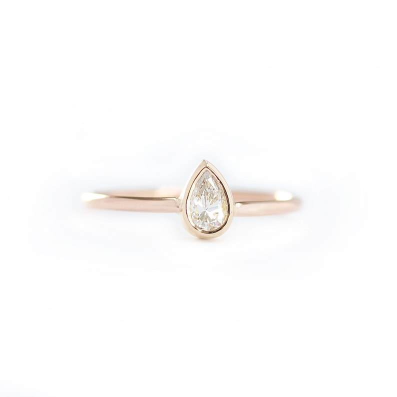 14k Solid Gold Pear Shape Diamond Engagement Ring In Bezel Etsy
