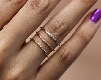 Simple Diamond Ring, Wedding Engagement Ring Diamond Eternity Minimalist 14k Solid Yellow Gold  Wedding,Rose Gold Thin Band