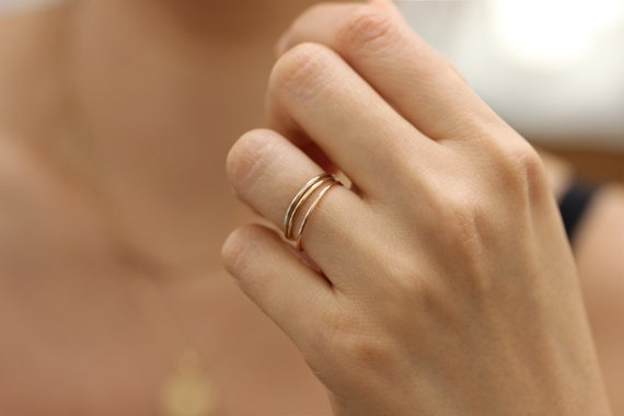 Gelb-Gold-Plain Runde Gold Ring Draht Band Stapelring | Etsy