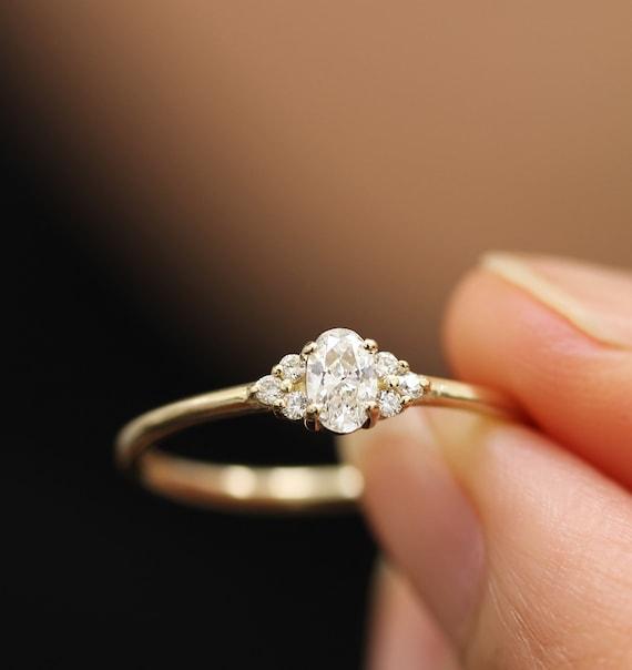 Wedding Diamond Ring 14k Yellow Gold White Gold Simple Etsy