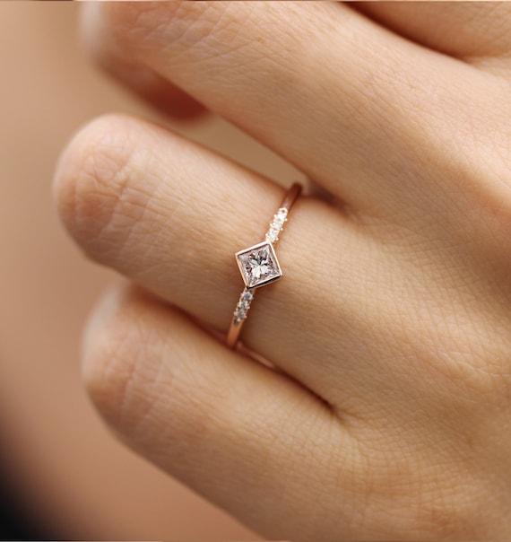0 25 Carat Princess Cut Diamond Engagement Ring In 14k Solid Etsy