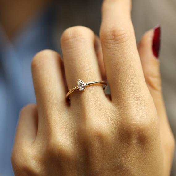 015 Karat Birne Diamant Verlobungsring In Zargenfassung Etsy