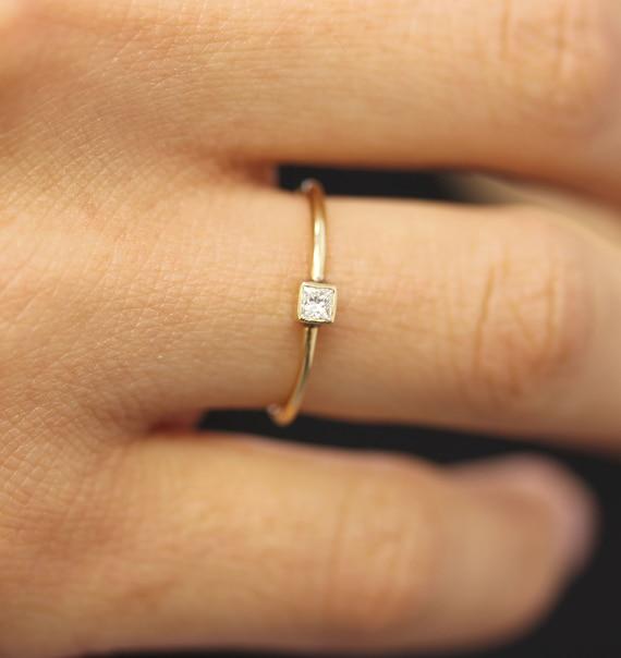 Princess Cut Diamond Bezel Engagement Ring In 14k Solid Etsy