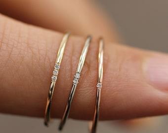 Simple Diamond Ring, Wedding Engagement Ring Diamond Eternity Minimalist 14k Solid Yellow Gold Micro Pave Wedding,Rose Gold Ultra Thin Band