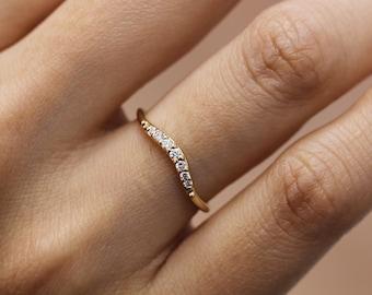 Simple Diamond Ring Wedding Engagement Ring Diamond14k Solid Yellow Gold Curve Matching band Thin Wedding Band