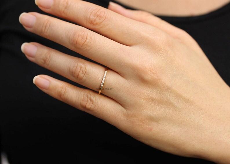Sample Sale 14k Yellow Gold Diamond Wedding Band,Diamond Engagement Band