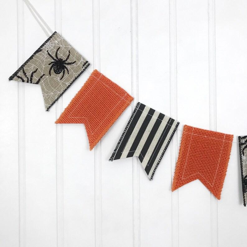 Halloween Mini Banner Orange and Black Mini Banner Holiday image 0