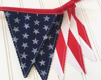 Patriotic Bunting, Fourth of July, Flag Bunting, Party Decor, Patriotic Decor, Fabric Bunting, Holiday Decor, Bunting Banner, Americana