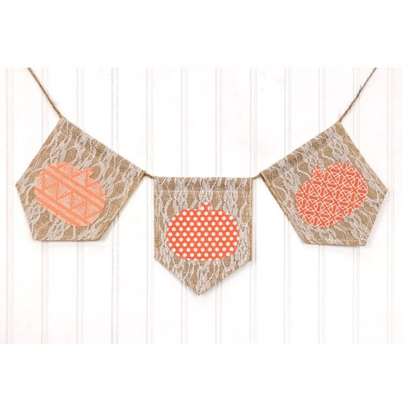 Fall Pumpkin Burlap and Lace Banner Burlap and Lace Banner image 0