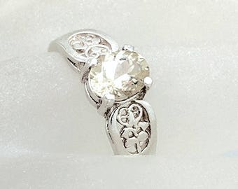 Sterling Silver Sunstone Ring - Clear Oval Oregon Sunstone Ring - Oregon Diamond - American Gemstone - Unique Engagement Ring - Size 9.25