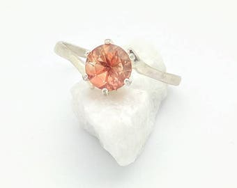 Pink Sunstone Ring - Cut Gemstone Ring - Oregon Sunstone Ring - Gemstone Solitaire - Unique Engagement Ring - Sterling Silver - Size 9.5