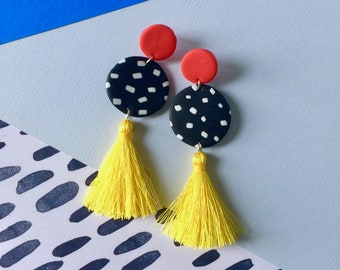 90s Confetti Tassel Dangles // Polymer Clay Dangle Drop Earrings Handmade Hand Rolled with Sterling Silver Studs