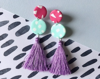 Colour Pop Tassel Dangles // Polymer Clay Dangle Drop Earrings Handmade Hand Rolled with Sterling Silver Studs