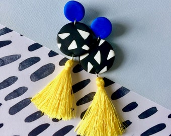 90s Geometric Tassel Dangles // Polymer Clay Dangle Drop Earrings Handmade Hand Rolled with Sterling Silver Studs